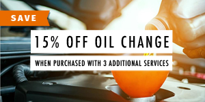 15% off oil change when purchased with 3 additional services